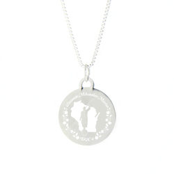 Wisconsin Mission Necklace - Silver/Gold wisconsin lds mission jewelry
