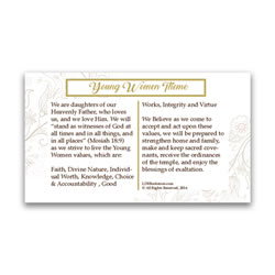 Young Women Values Pocket Card young women values, young women values pocket card, young women values bookmark