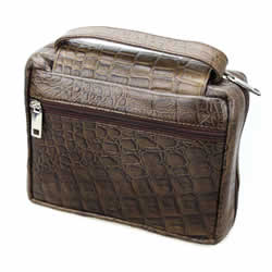 Stamped Leather Compact Tote - Brown