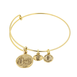Salt Lake Temple Medallion Bangle Bracelet - Gold