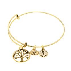Tree of Life Medallion Bangle Bracelet - Gold