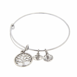 Tree of Life Medallion Bangle Bracelet - Silver