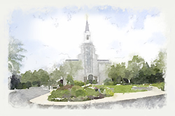 Boston Temple - Watercolor Print