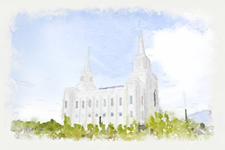 Brigham City Temple Watercolor Print