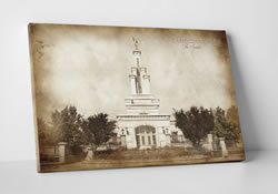 Columbia River Temple - Vintage Canvas Wrap - D-LWA-CWT-CR