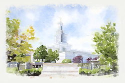 Columbia River Temple - Watercolor Print - D-LWA-WC-COLRIV