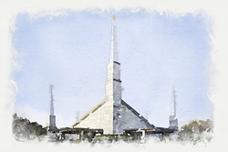 Dallas Temple - Watercolor Print
