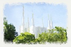 Washington D.C. Temple - Watercolor Print