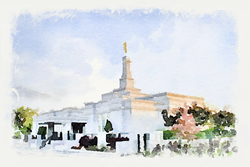 Edmonton Temple - Watercolor Print