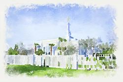Fresno Temple - Watercolor Print