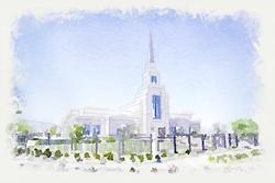 Gila Valley Temple - Watercolor Print
