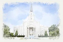 Houston Temple - Watercolor Print