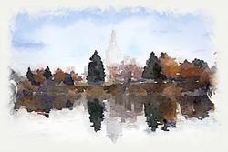Idaho Falls Temple - Watercolor Print - D-LWA-WC-IDFAL