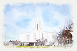 Jordan River Temple - Watercolor Print