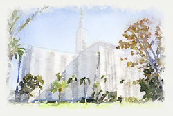 Los Angeles Temple - Watercolor Print