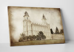 Manti Temple - Vintage Canvas Wrap