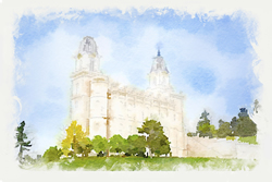 Manti Temple - Watercolor Print