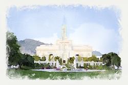 Mt. Timpanogos Temple - Watercolor Print