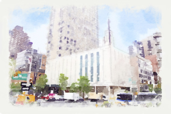 Manhattan Temple - Watercolor Print - D-LWA-WC-NYC