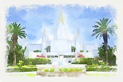 Oakland Temple - Watercolor Print - D-LWA-WC-OAK