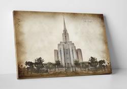 Oquirrh Mountain Temple - Vintage Canvas Wrap
