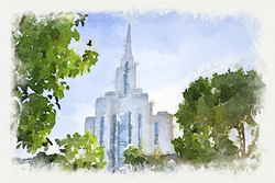 Oquirrh Temple - Watercolor Print - D-LWA-WC-OQR