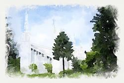 Portland Temple - Watercolor Print - D-LWA-WC-PORT