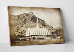 Provo Temple - Vintage Canvas Wrap