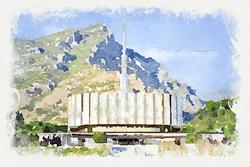 Provo Temple - Watercolor Print