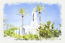 Redlands Temple - Watercolor Print