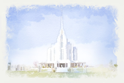 Rexburg Temple - Watercolor Print - D-LWA-WC-REX