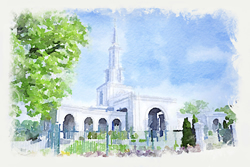 Sacramento Temple - Watercolor Print