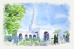 Sacramento Temple - Watercolor Print - D-LWA-WC-SAC