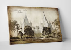 San Diego Temple - Vintage Canvas Wrap