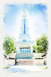 San Antonio Temple - Watercolor Print