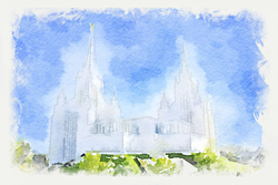 San Diego Temple - Watercolor Print