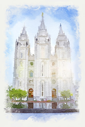 Salt Lake Temple - Watercolor Print