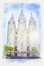 Salt Lake Temple - Watercolor Print