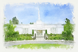 Spokane Temple - Watercolor Print