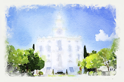 St. George Temple - Watercolor Print