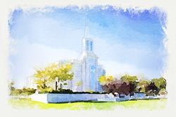 St. Louis Temple - Watercolor Print - D-LWA-WC-STLOU