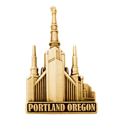 Portland Oregon Temple Pin - Gold