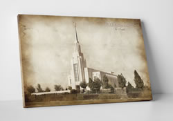 Twin Falls Temple - Vintage Canvas Wrap