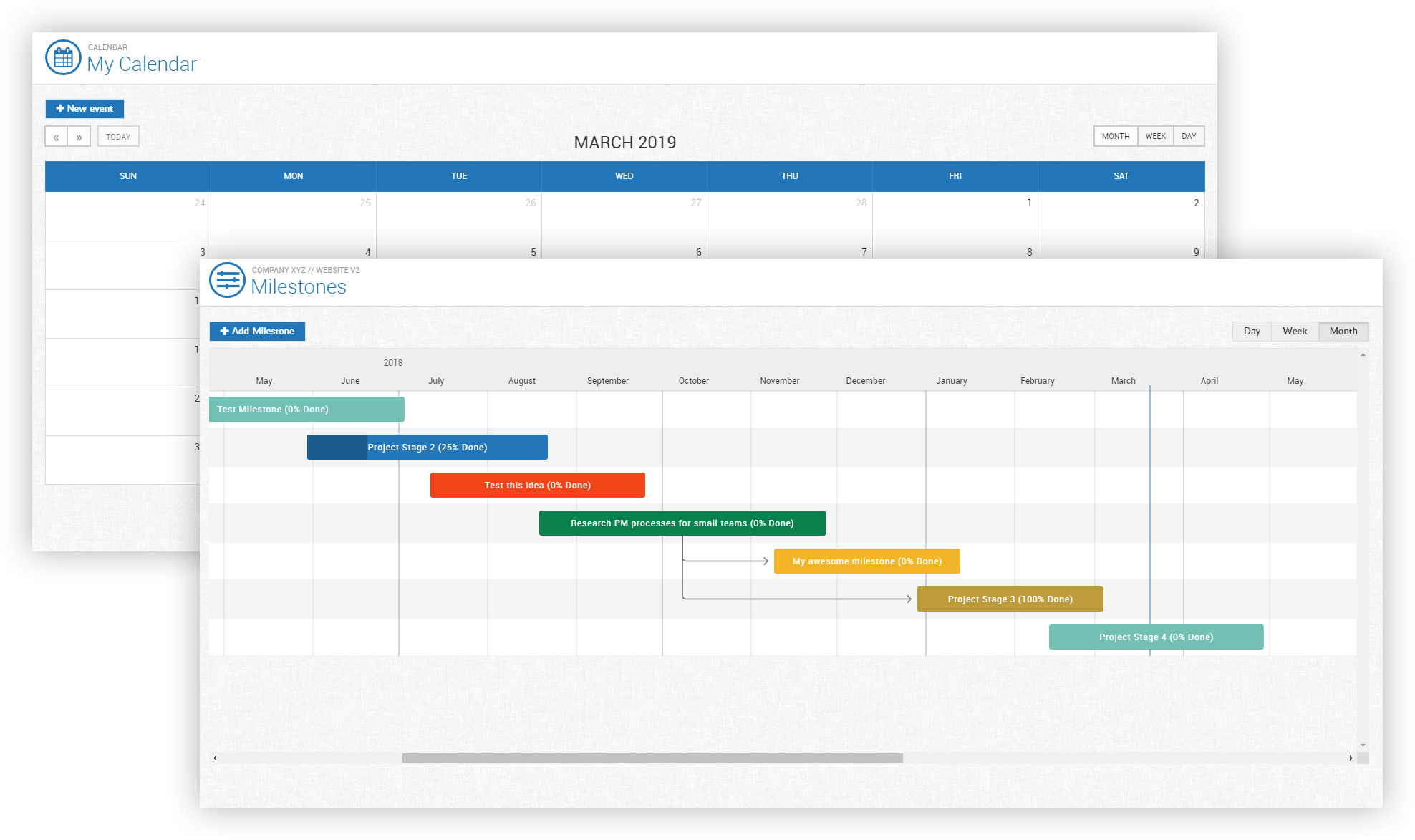Gantt chart and calendar view of the open source project management system Leantime
