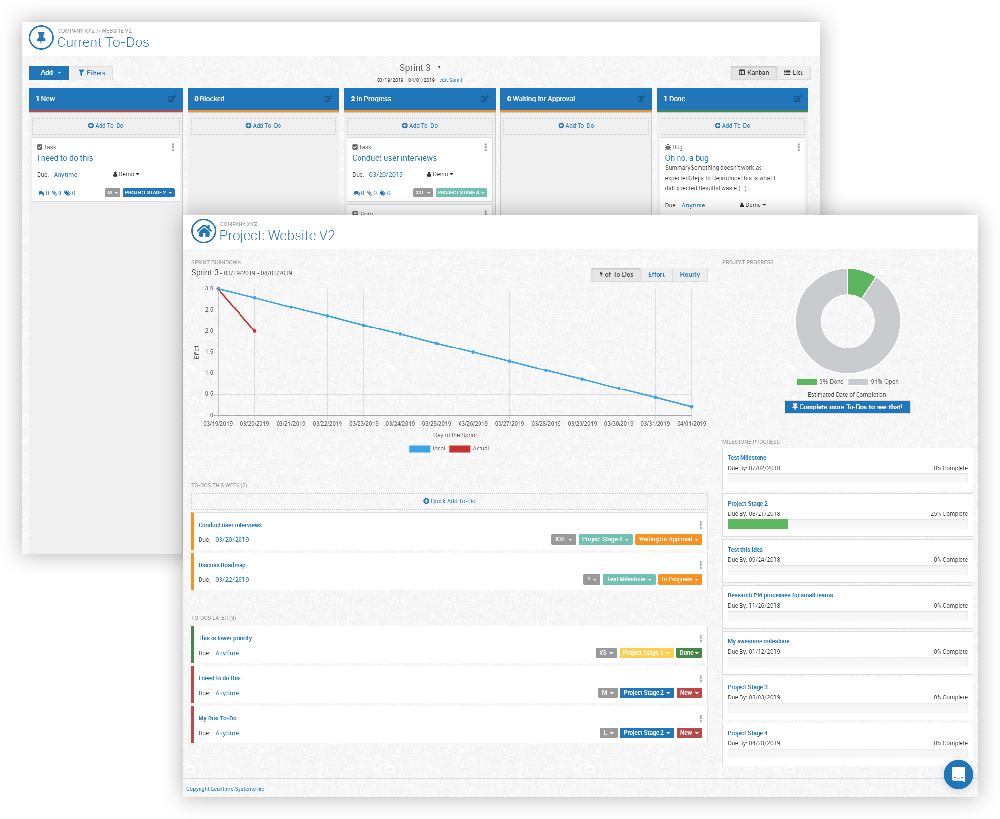 Dashboard view and kanban screen of the open source project management system Leantime