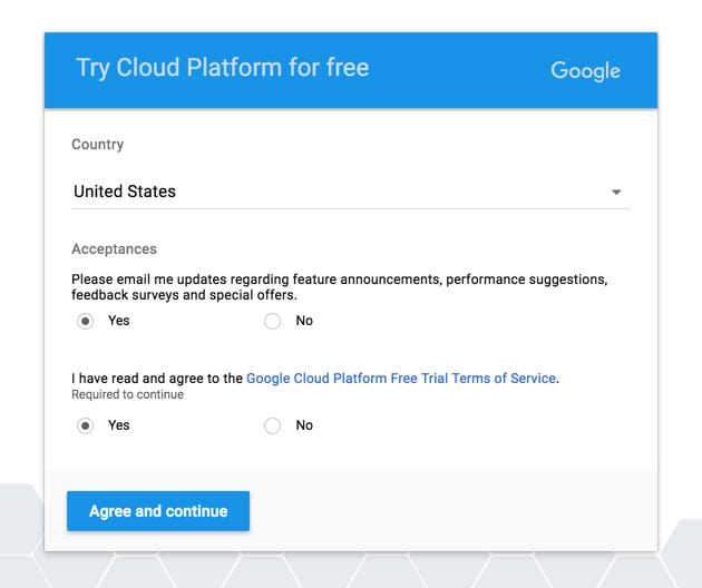 Accept the Google Cloud Platform Terms of Service