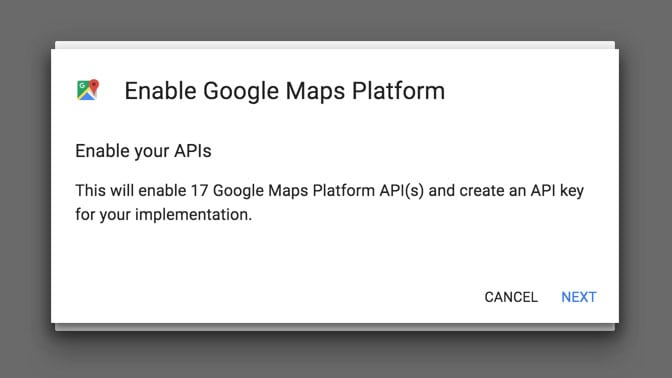 Enable Your Google Maps APIs