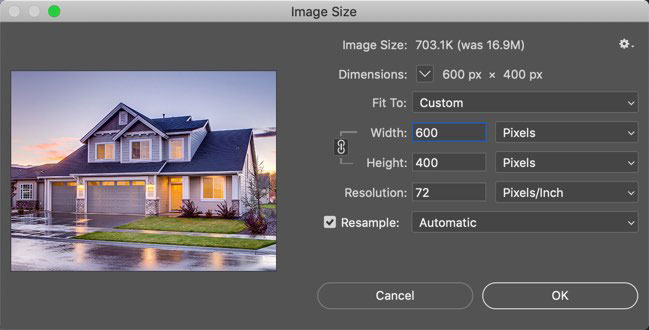 Change image dimensions with Photoshop