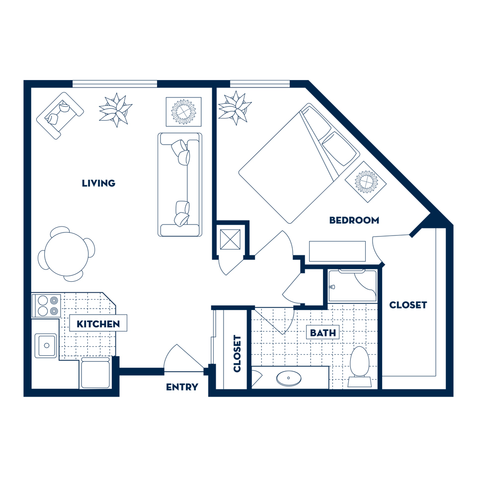 One Bedroom Apartments Floor Plans