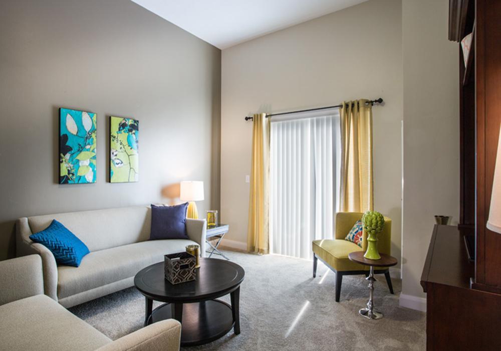 Living Room - Treeo Senior Apartments in Orem